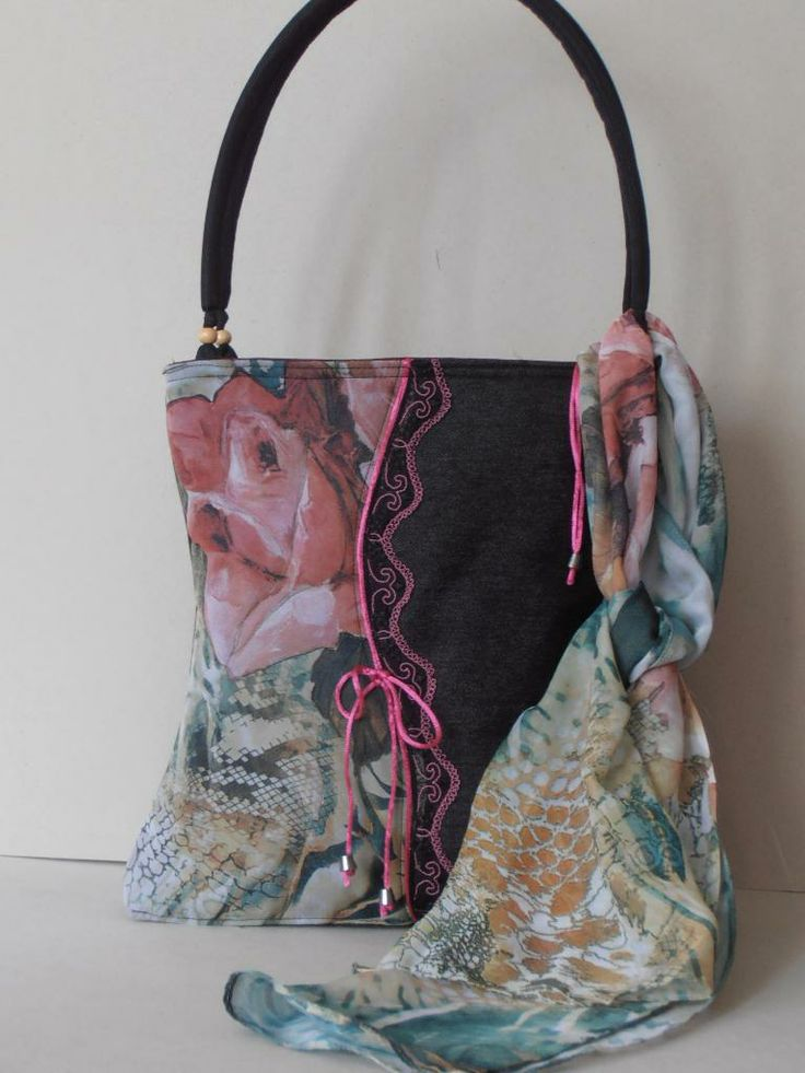 Custom designed jeans bag with muslin scarf