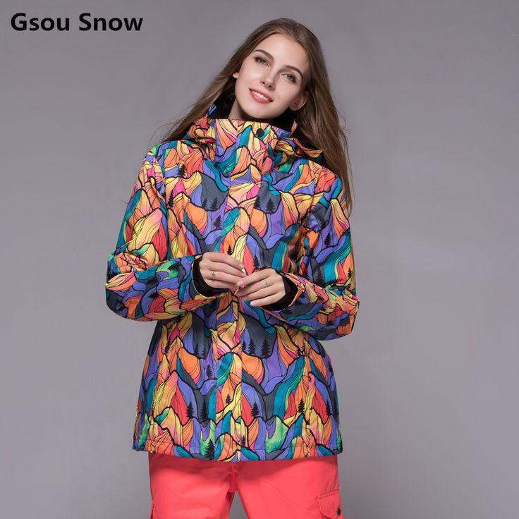 Gsou Snow Winter Insulated Snow Ski Snowboard Jacket Coat Women Warm Skiing Wear Chaqueta Nieve Mujer Veste Ski Femme