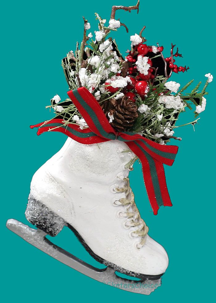 """Small Winter Skate Snow Splattered with Winter Greenery and Red and Green Ribbon  Color: White  Size: Approx Measurements - 5"""" x 5.5 x 6.5"""