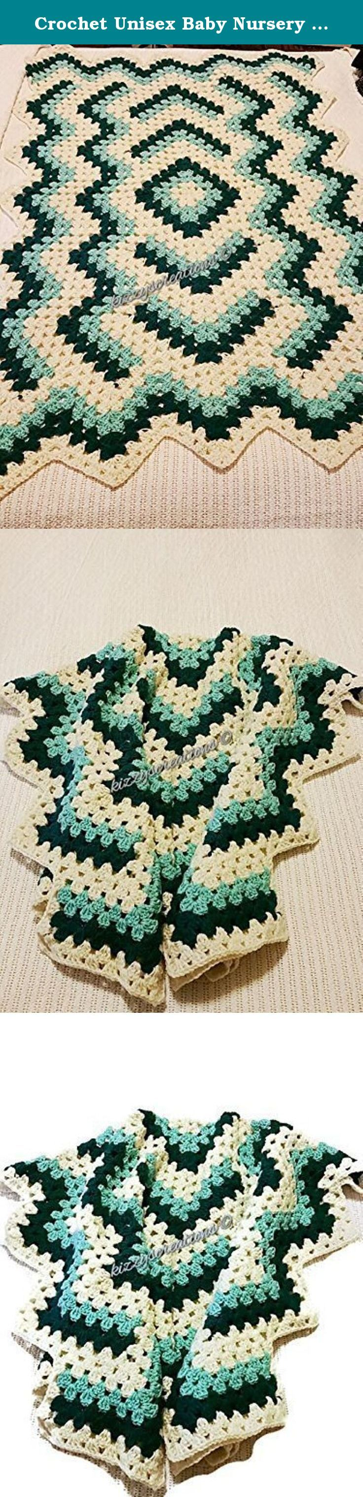 Crochet Unisex Baby Nursery Blanket. This beautiful blanket can be used by a girl or boy. It is made with soft yarn in Cream, Aqua and Teal. The design is meant to give the appearance of water ripples in a pond. This be a lovely accent to any child's nursery. It will keep them snuggled and warm all winter long!.