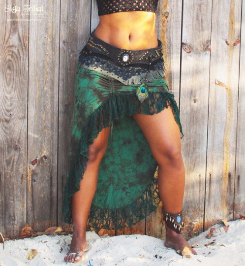 :. Burlesque Skirt :. Tie dye GREEN jersey and green lace skirt :. Colour: Tie Dye GREEN :. Perfect for summer festivals, tribal dance , warm days . :. Please choose your size : S , M or L. :. Size Chart in attached photo. :. The belt skirt not come together. :.Designed , Curt, Painted and Sewn by us on our workshop in Brasil. <3   :.This skirt is a custom made item , please allow 2 weeks to be shipping. All the shipping services have tracking number. If you would like to add insurance…