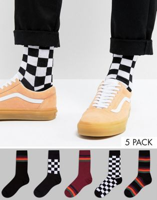 ASOS Socks With Stripe & Checkerboard Design 5 Pack