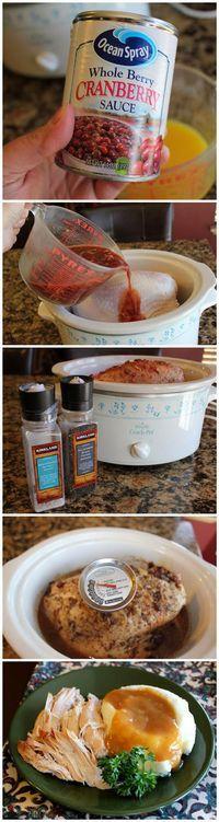 Turkey Breast of Wonder (Crock Pot).  Orange juice, cranberry sauce, & onion soup mix poured over a turkey breast for 5-6 hours.