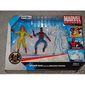 """Marvel Universe 3 3/4"""" Exclusive Action Figure 3-Pack Spider-Man and His Amazing Friends (Firestar, Spider-Man and Iceman)"""
