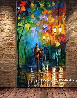 Grande Pintado A Mano Abstracta Moderna de La Pared Pintura Rain Tree Road Espátula Pintura Al Óleo Sobre Lienzo Arte de La Pared Decoración Para El Hogar YY043(China (Mainland))