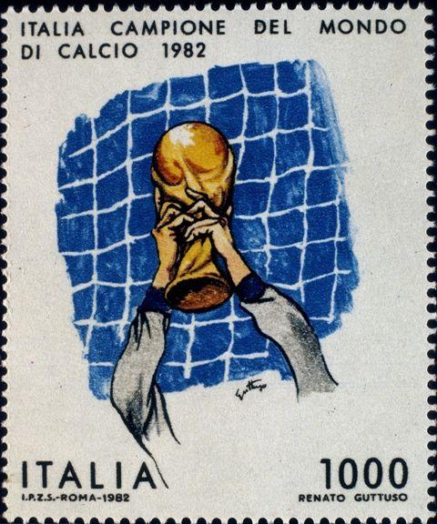Francobollo celebrativo per la vittoria della Nazionale di calcio italiana ai mondiali di Spagna '82 - Disegno di Renato Guttuso