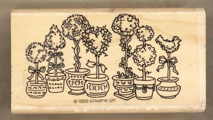 "Potted Topiary Row Stampin' Up Wood Mount Rubber Stamp 3.75""x2"""