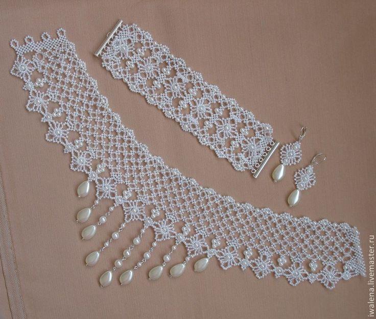 Купить Свадебные кружева - белый, ожерелье, ожерелье из жемчуга, ожерелье с подвеской, Ожерелье ручной работы