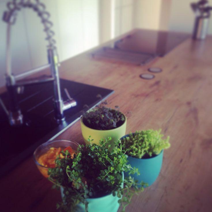 Lente in de keuken met leuke plantjes en zelfgemaakte potpourri (sinaasappelschillen koken met wat vanille- en citroenextract)