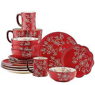 Temp-tations Hand Painted Stoneware 16-pc. Dinnerware Set