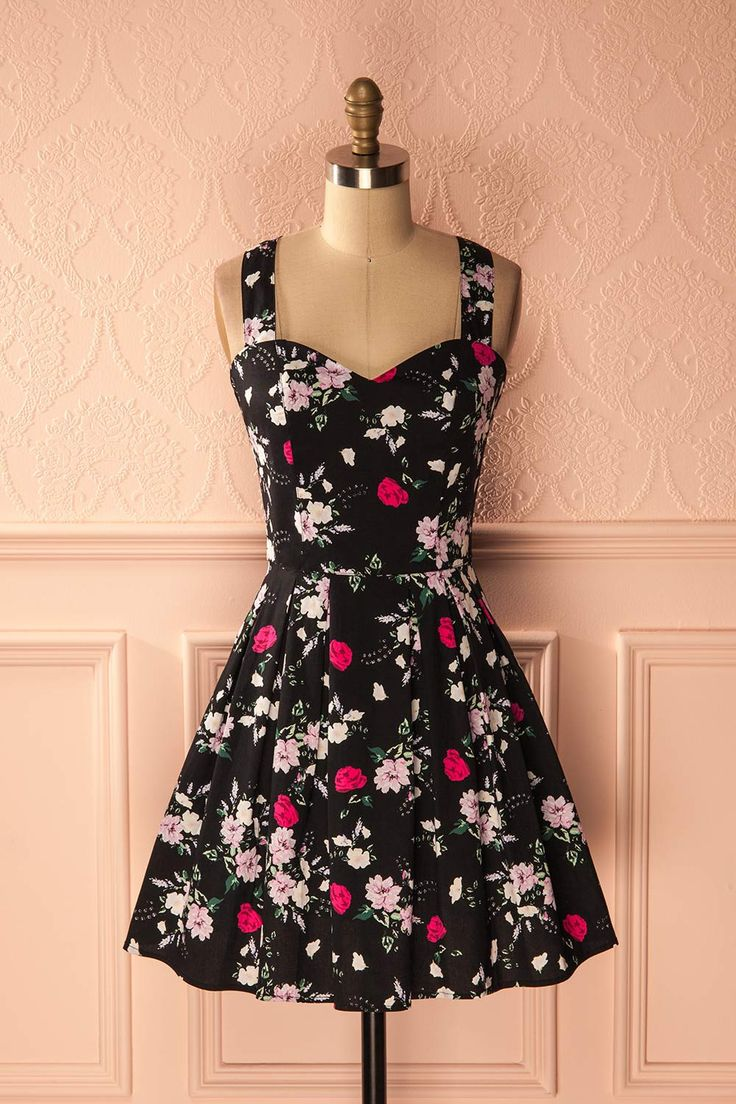 Ayako Noir - Black floral print A-line sleeveless dress www.1861.ca