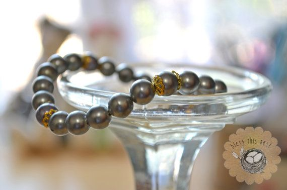 Silver Glass Pearl Bead Bracelet with Gold Accents