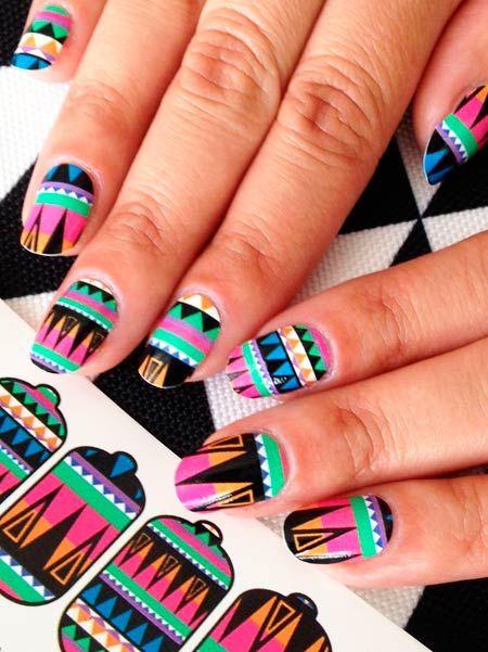 Линии, полосы, зигзаги и геометрические рисунки на ногтях