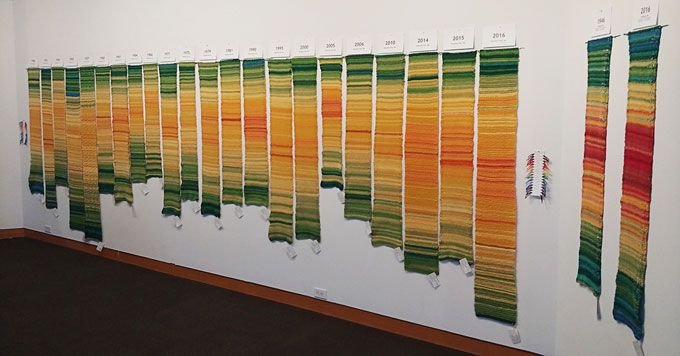 What's a 'tempestry'? Knitters turn temperature data into art Environmental Art, Environmental Justice, Climate Change Effects, Change Background, Data Visualization, Map Art, Fabric Art, Installation Art, Textile Art
