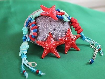Bracelet & Earrings / Summer Jewelry / Starfish / Handmade Polymer Clay
