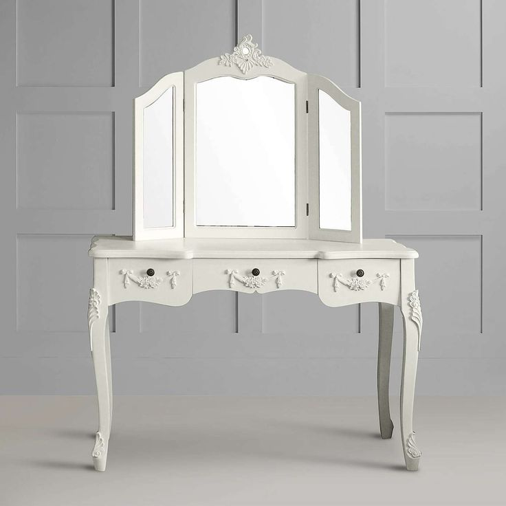 Toulouse White Large Dressing Table and Mirror | Dunelm