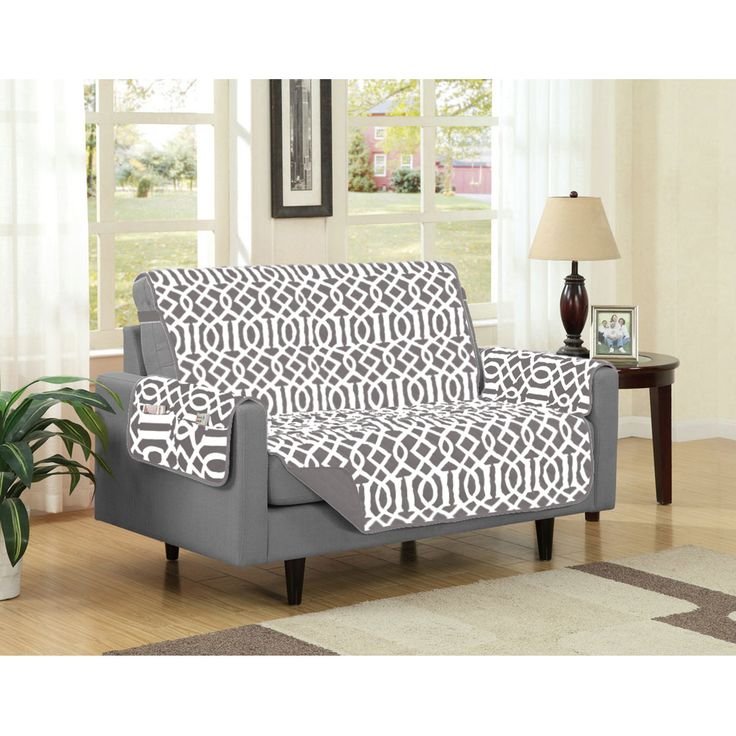 Dallas Reversible Solid Print Microfiber Furniture Protector With Strap Side Pockets
