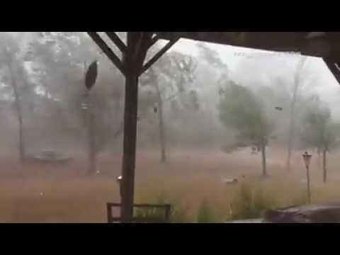 Powerful microburst near Brunswick County Airport, North Carolina