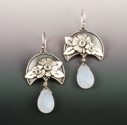 Moonflower earrings | ©2012 Vickie Hallmark  |fine silver flowers and leaves fused to Argentium sterling silver, chalcedony drops