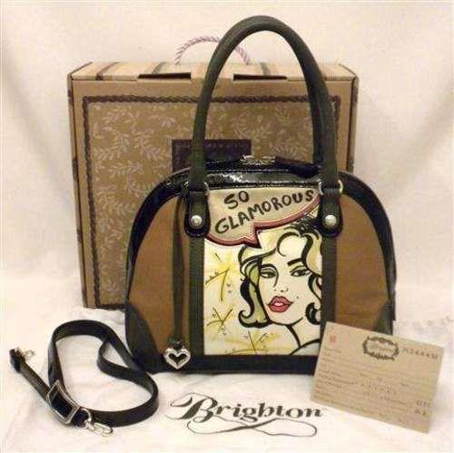 Brighton Convertable Fashionista Glamour Petite Bowler Bag Brown Black Gray White Leather H3444M NWT