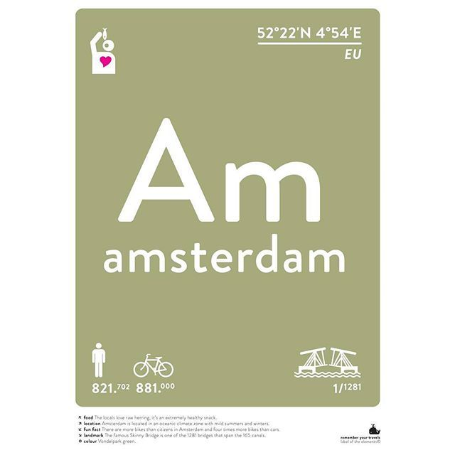 AMSTERDAM poster: We decided to change the colour of our Amsterdam  poster to Vondelpark green last minute. Why? Just a feeling. Maybe because spring is in the air and in our heads right now ;-) #amsterdam #vondelpark #green #citypark #amsterdamtravel #iamsterdam #labeloftheelements #rememberyourtravels