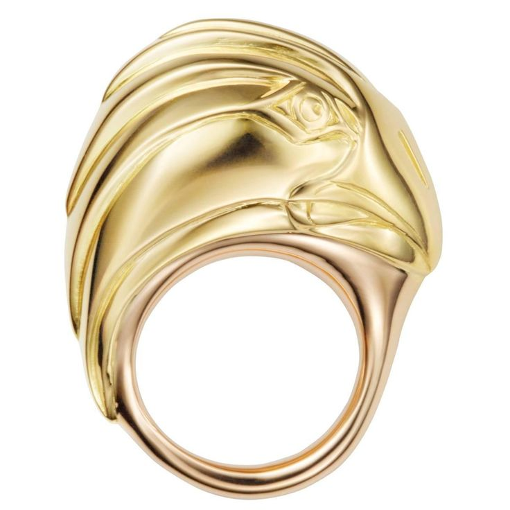 Rose & Yellow Gold Eagle Icon Ring by Hannah Martin London | See more rare vintage Dome Rings at http://www.1stdibs.com/jewelry/rings/dome-rings