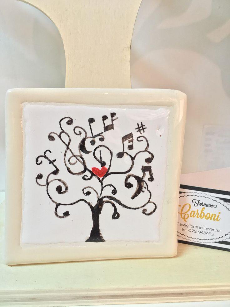 Bomboniera mattonella quadro da appendere in ceramica per Battesimo, Comunione e Cresima con albero della vita misicale. Fatto a mano Iralia