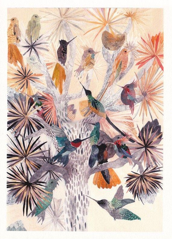 Hummingbirds and Joshua Tree Large Archival_Print by unitedthread