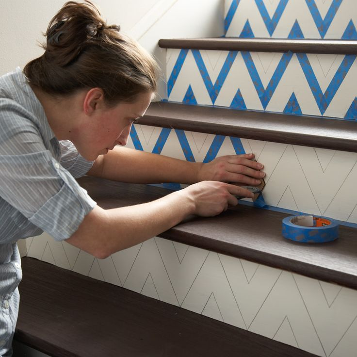 DIY: how to make a chevron pattern on stairs#Repin By:Pinterest++ for iPad#