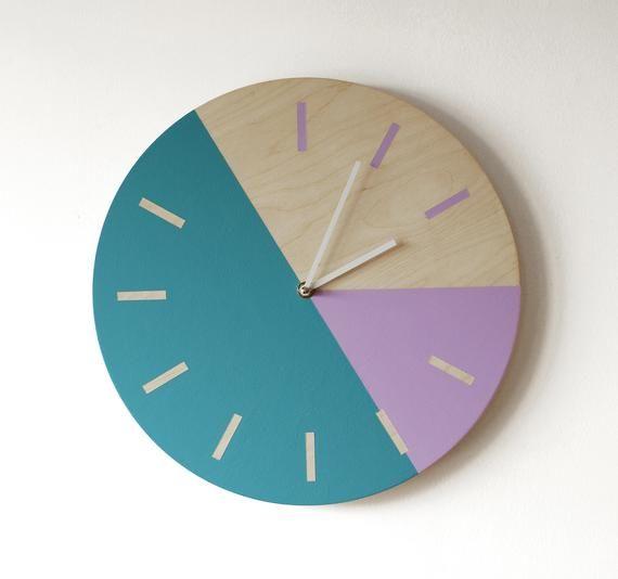Minimalist Wall Clock Masculine Clock Teal And Purple Clock Etsy In 2020 Minimalist Wall Clocks Diy Clock Wall Wall Clock
