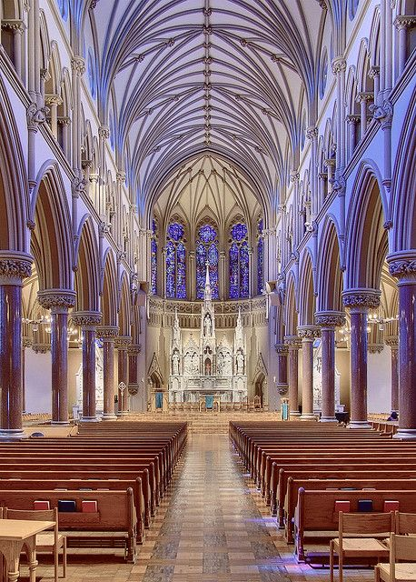 Nave of Saint Francis Xavier Roman Catholic Church, at Saint Louis University, in Saint Louis, Missouri, USA by msabeln, via Flickr