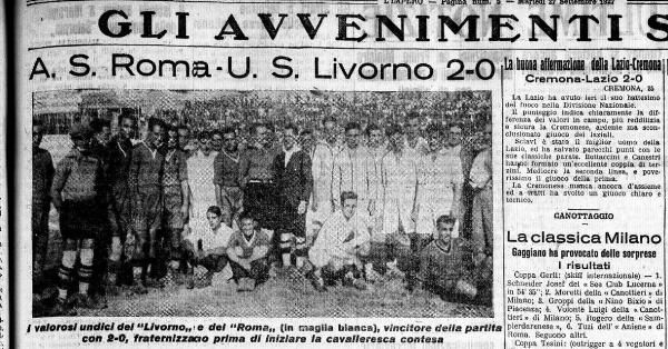 AS Roma 2 Livorno 0 in Sept 1927 at Stadio Olimpico. A newspaper report on the Italian fixture.