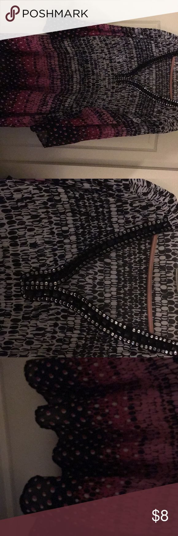 Sz 30/32 pink black top from the avenue Pullover.  Stones and sequins around the neckline.  Has a puckered look to it Avenue Tops Blouses