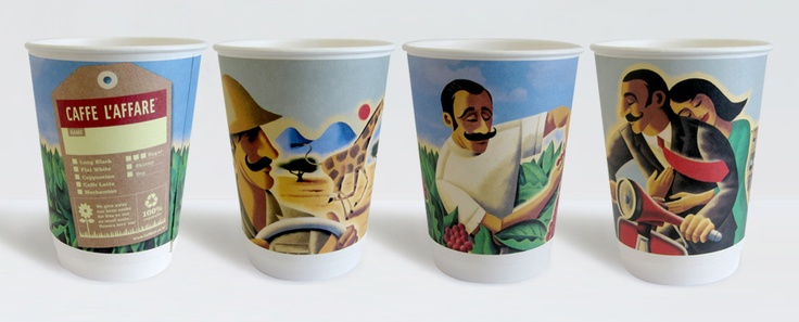 Caffe L'affare, biodegradable coffee cups produced especially for the production of the film The Hobbit