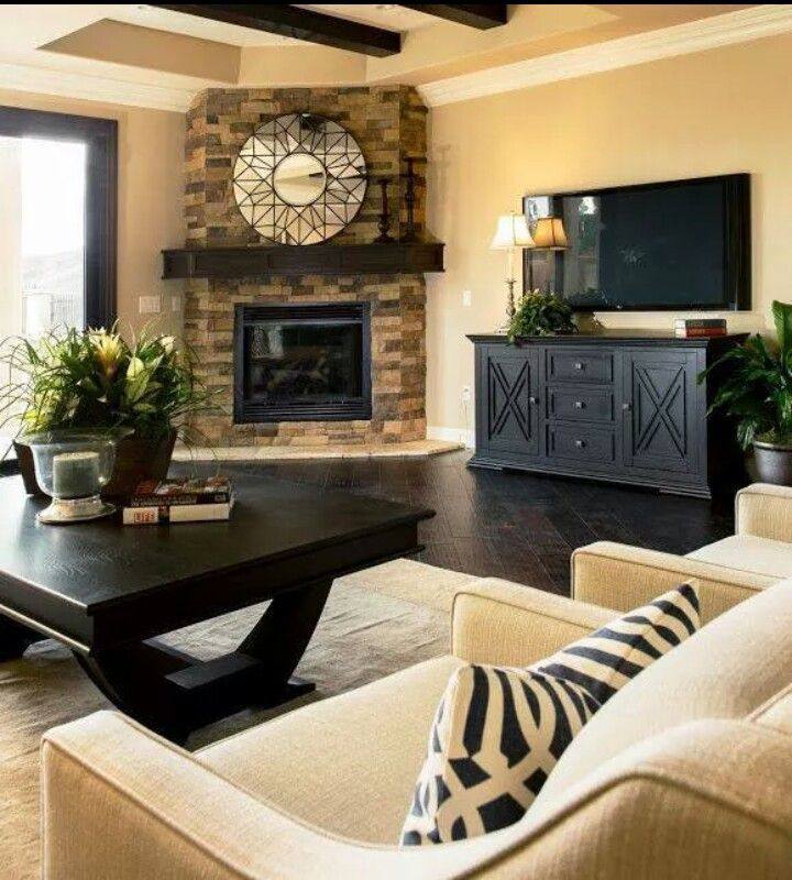 Love the corner fireplace