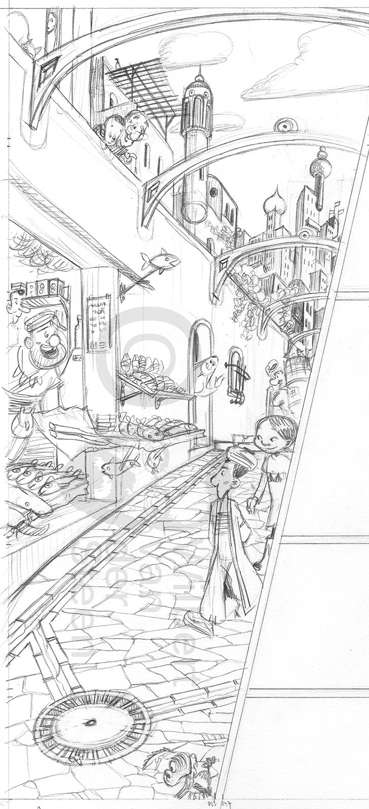 Sketch page comic Ayak + Por, the lonely sultan (November 2015)