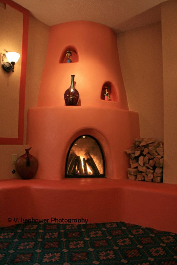 Fireplace photography santa fe style kiva adobe new for Kiva fireplaces