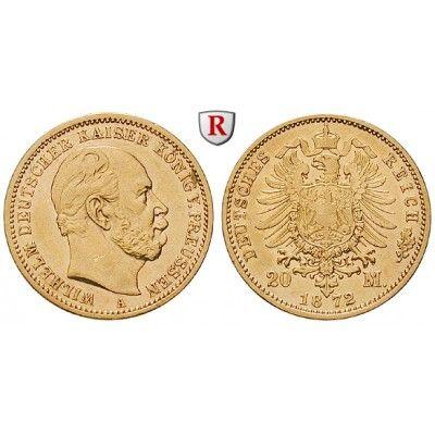 Deutsches Kaiserreich, Preussen, Wilhelm I., 20 Mark 1872, A, ss, J. 243: Wilhelm I. 1861-1888. 20 Mark 1872 A. J. 243; GOLD, sehr… #coins