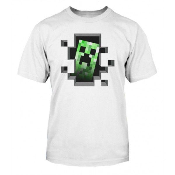 Minecraft t-shirt hvid med flot motiv. Produceret af Mojang Jinx