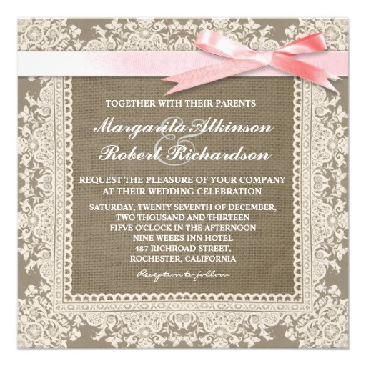 White Lace Pink Bow & Burlap Wedding Invitations