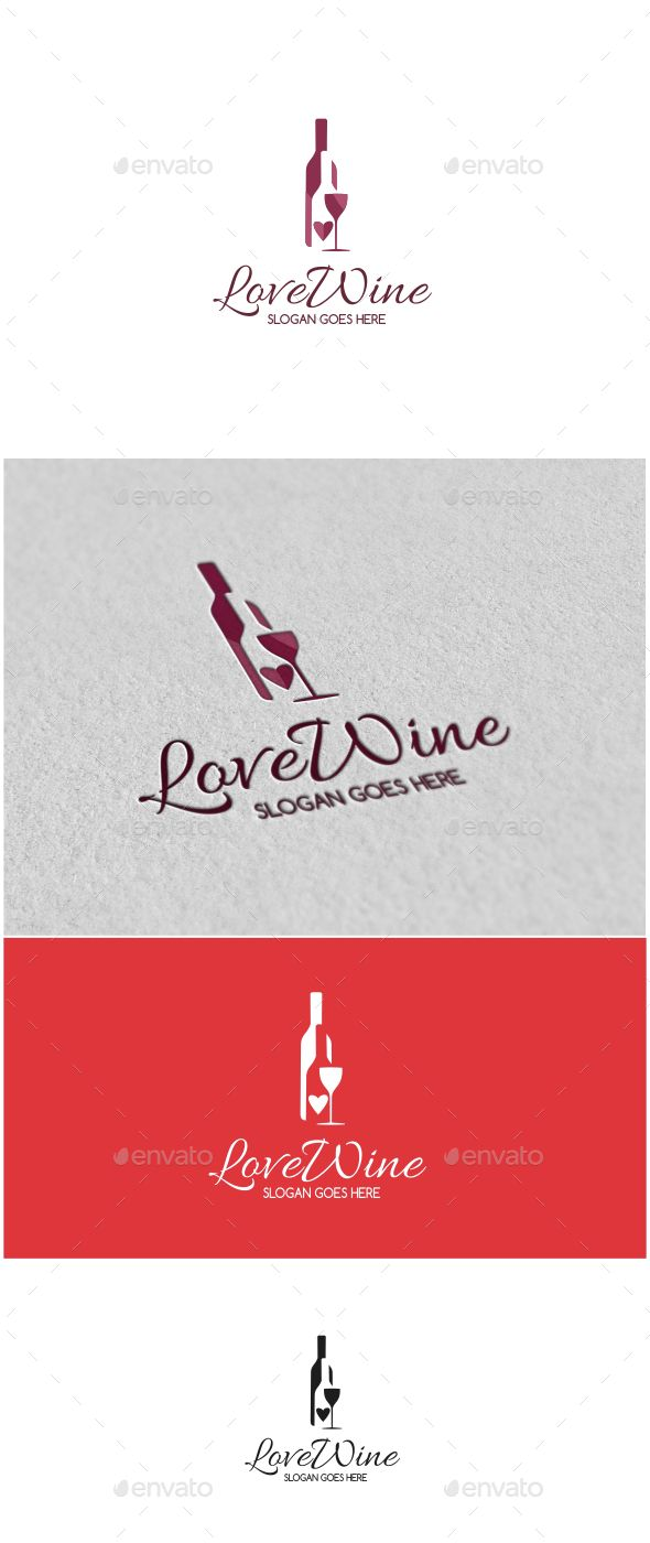 Love Wine Logo Template Vector EPS, AI Illustrator. Download here: http://graphicriver.net/item/love-wine-logo/14602351?ref=ksioks