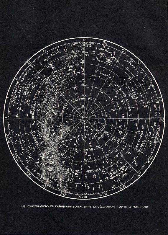 Star Chart Northern Sky  Astronomy Print 1940s by carambas on Etsy, $25.00