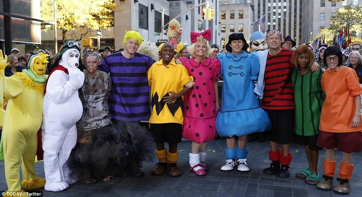 The gang's all together: The Today Show cast brought the Peanuts comic strip to life, dressing up as each and everyone one of the cartoon's famous characters. From left to right: Kathie Lee Gifford as Woodstock, Hoda Kotb as Snoopy, Meredith Vieira as Pig-Pen, Willie Geist as Schoeder, Al Roker as Charlie Brown, Savannah Guthrie as Sally, Matt Lauer as Lucy, Carson Daly as Linus, Tmaron Hall as Peppermint Patty and Natalie Morales as Marcie