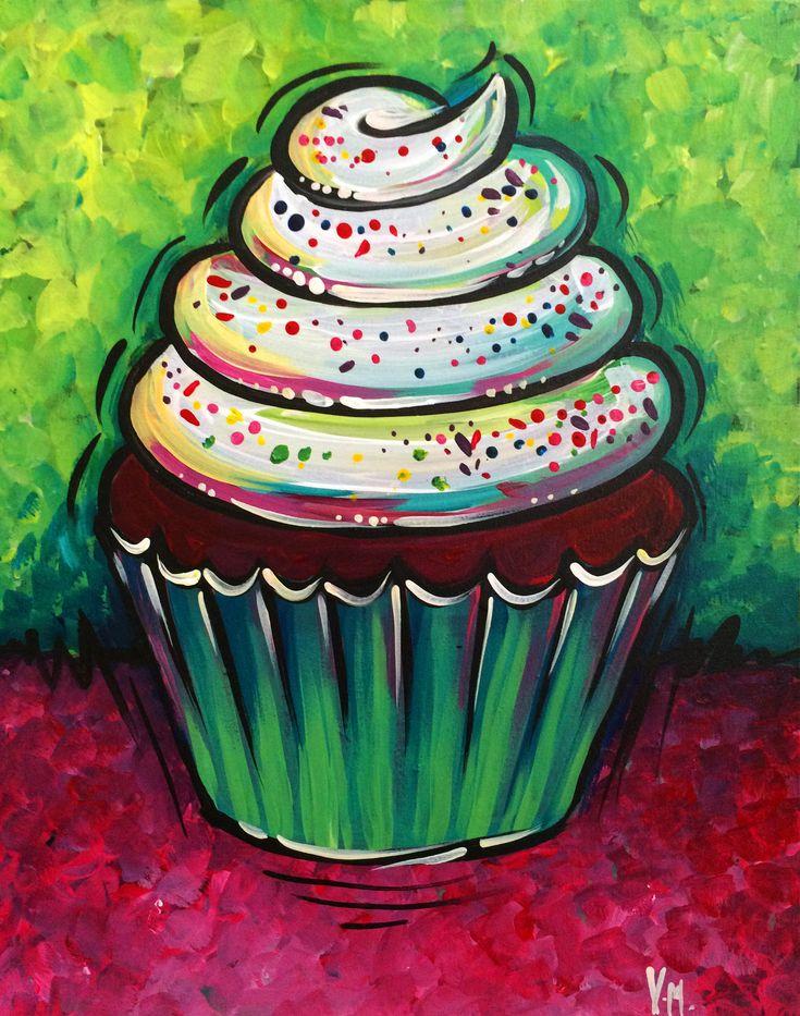Paint Nite. Festive Cupcake