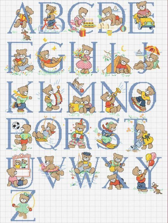 alfabeto padrão de ponto-cruz com ursos