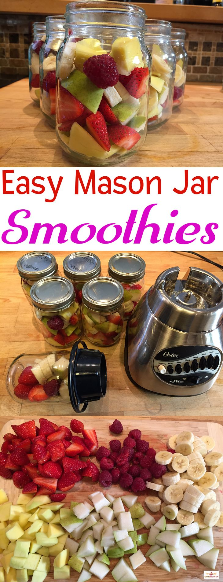 Smoothies you can make directly in your Mason Jar! For the recipe, visit us here: http://www.grubheaven.com/recipe/easy-mason-jar-smoothies/