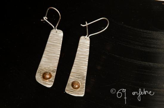 Pendientes de plata y cobre