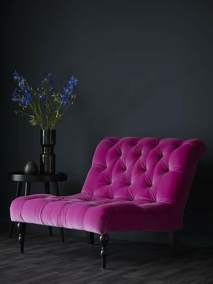 From sofa.com velvet sofa, velvet couch, deep pink, violet, vibrant color, velvet upholstery, arm chair, dark pink, amarant,