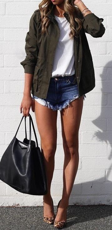 #summer #cool #outfits   Army Green Jacket + White Top + Denim Shorts