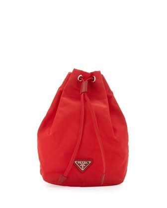 Vela Drawstring Pouch, Red (Rosso) by Prada at Bergdorf Goodman.